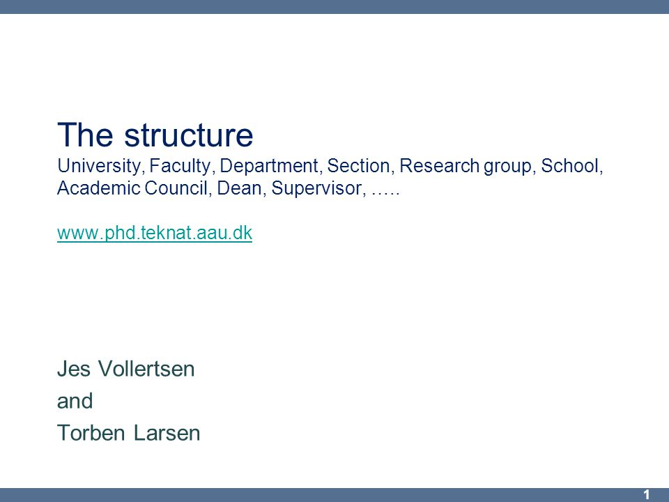 The structure University, Faculty, Department, Section, Research group, School, Academic Council, Dean, Supervisor, …..