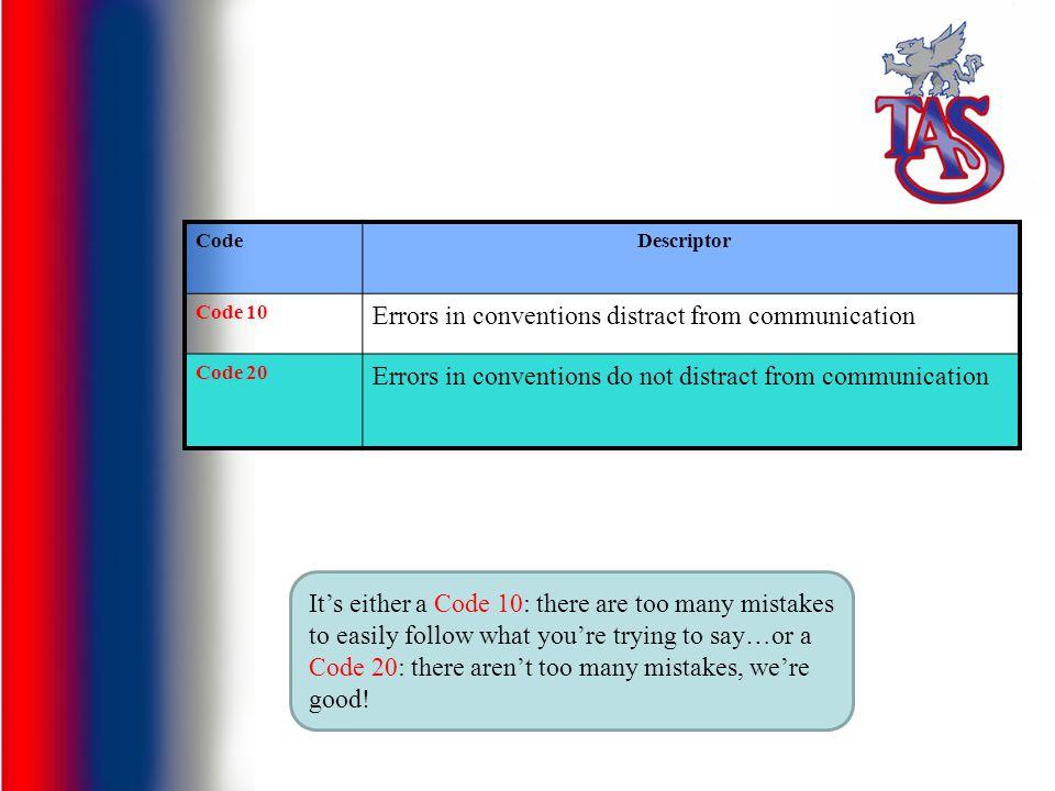 CodeDescriptor Code 10 Errors in conventions distract from communication Code 20 Errors in conventions do not distract from communication It's either