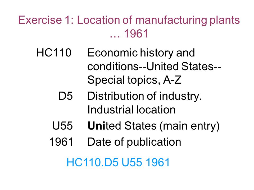 Exercise 1: Location of manufacturing plants … 1961 HC110Economic history and conditions--United States-- Special topics, A-Z D5Distribution of indust