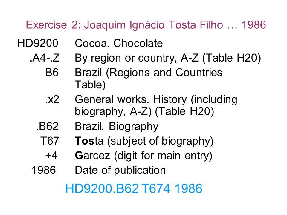 Exercise 2: Joaquim Ignácio Tosta Filho … 1986 HD9200.B62 T674 1986 HD9200Cocoa. Chocolate.A4-.ZBy region or country, A-Z (Table H20) B6Brazil (Region