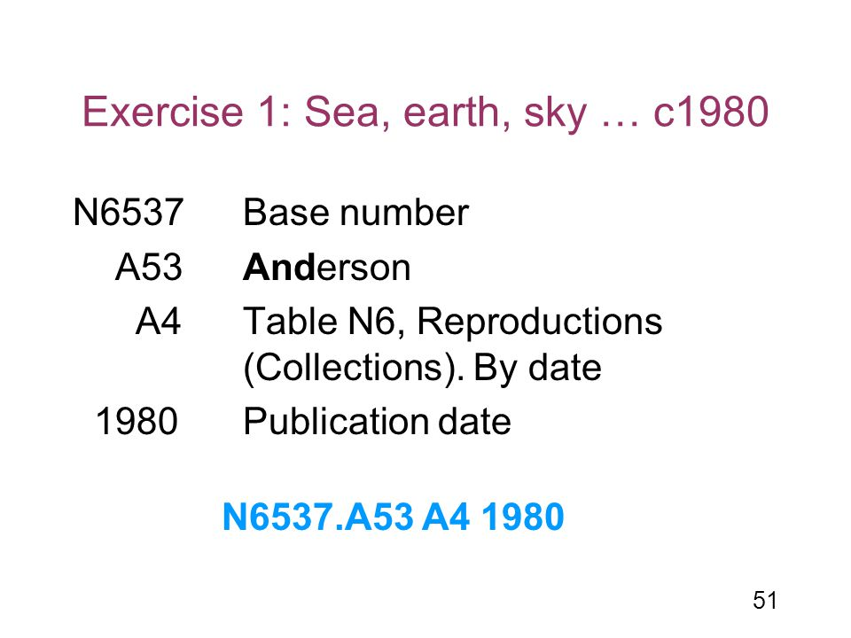 51 Exercise 1: Sea, earth, sky … c1980 N6537Base number A53Anderson A4 Table N6, Reproductions (Collections). By date 1980Publication date N6537.A53 A