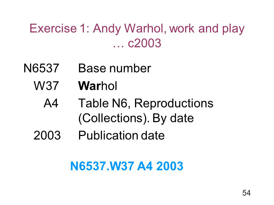 54 Exercise 1: Andy Warhol, work and play … c2003 N6537Base number W37Warhol A4 Table N6, Reproductions (Collections). By date 2003Publication date N6