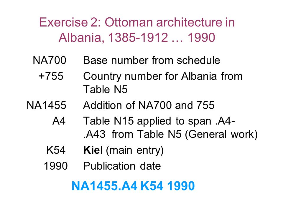 Exercise 2: Ottoman architecture in Albania, 1385-1912 … 1990 NA700Base number from schedule +755Country number for Albania from Table N5 NA1455Additi