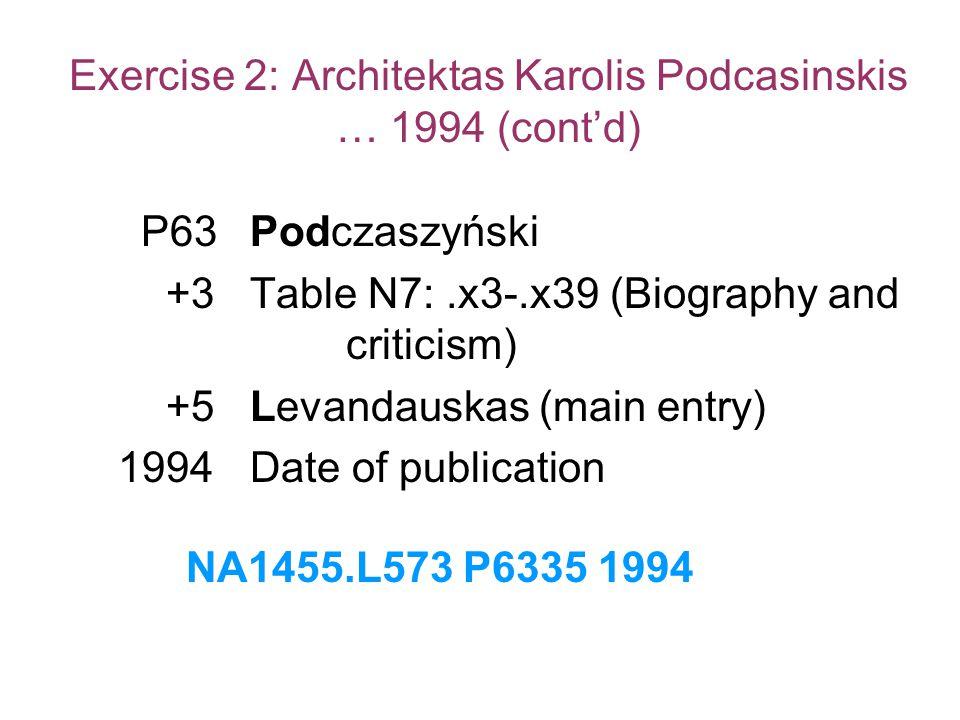Exercise 2: Architektas Karolis Podcasinskis … 1994 (cont'd) P63Podczaszyński +3Table N7:.x3-.x39 (Biography and criticism) +5Levandauskas (main entry