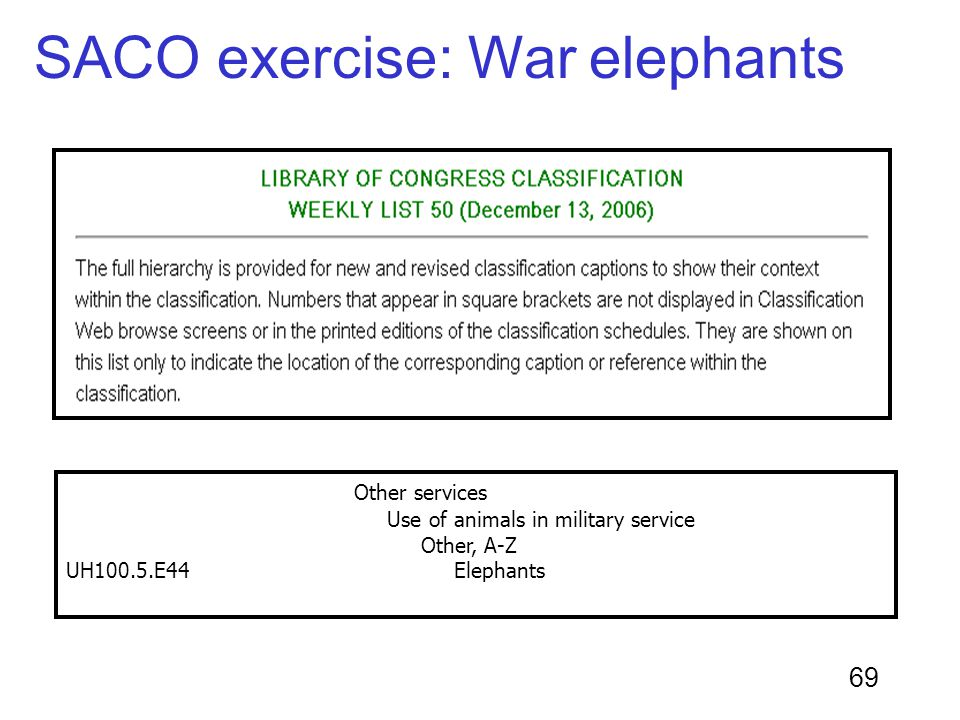 69 Other services Use of animals in military service Other, A-Z UH100.5.E44 Elephants SACO exercise: War elephants