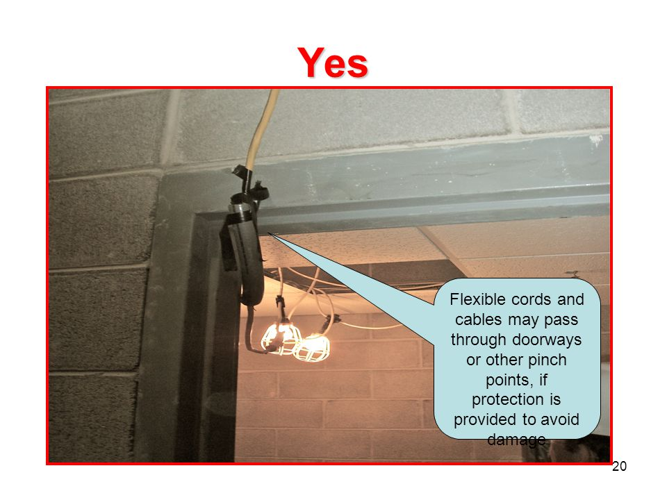 20 Yes Flexible cords and cables may pass through doorways or other pinch points, if protection is provided to avoid damage