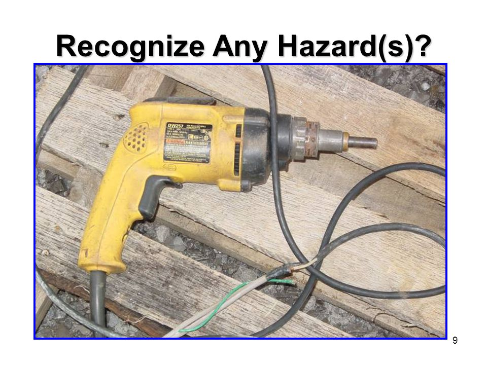 10 YES Electric drill flexible cord was spliced to a non-flexible conductor with damaged insulation