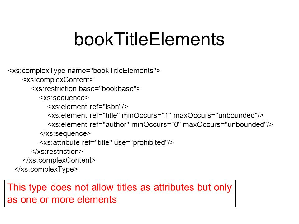bookTitleElements This type does not allow titles as attributes but only as one or more elements
