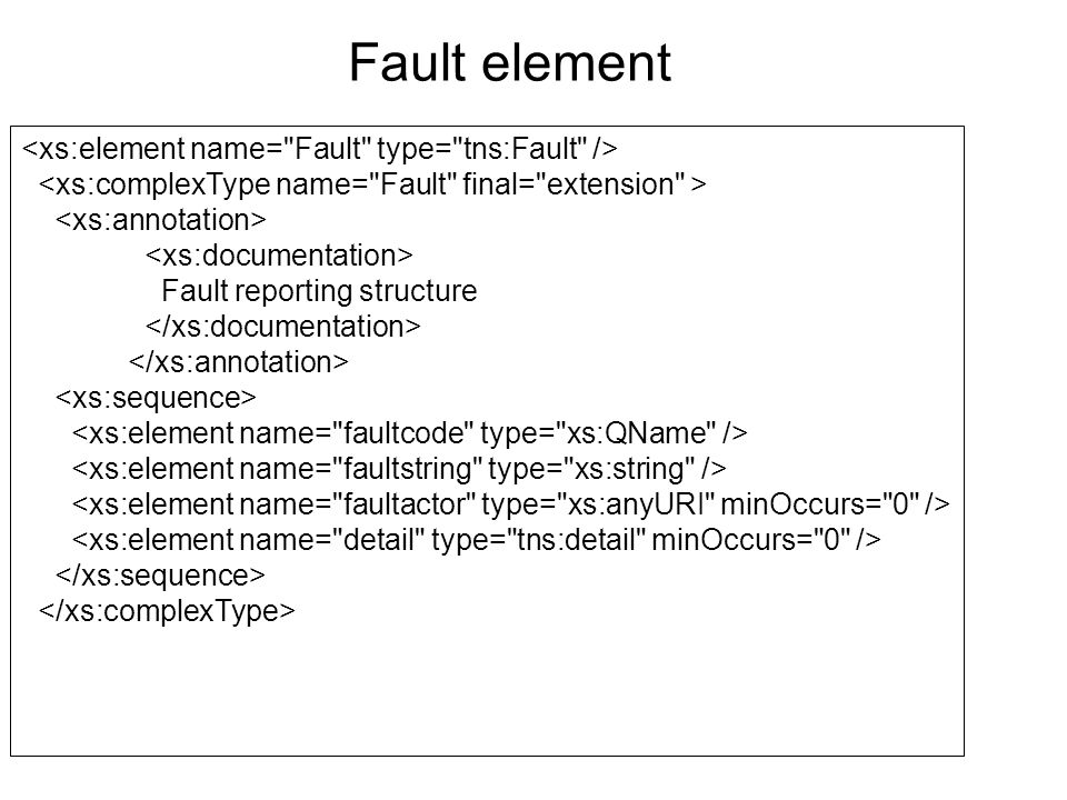 Fault reporting structure Fault element