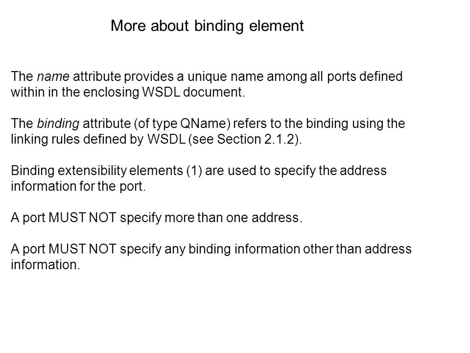 The name attribute provides a unique name among all ports defined within in the enclosing WSDL document.