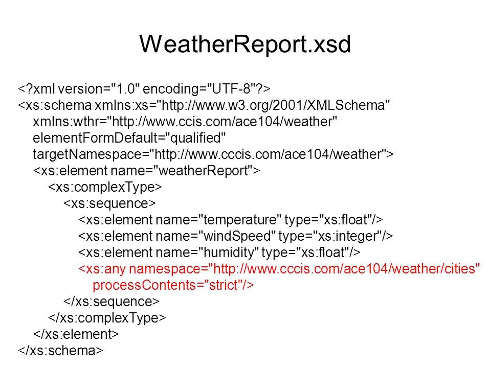 WeatherReport.xsd <xs:schema xmlns:xs= http://www.w3.org/2001/XMLSchema xmlns:wthr= http://www.ccis.com/ace104/weather elementFormDefault= qualified targetNamespace= http://www.cccis.com/ace104/weather > <xs:any namespace= http://www.cccis.com/ace104/weather/cities processContents= strict />