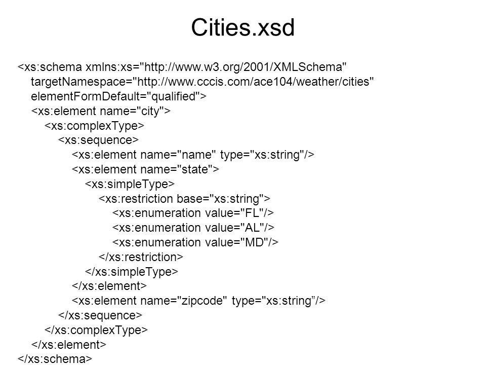 Weather.xml <wthr:weatherReport xmlns:wthr= http://www.cccis.com/ace104/weather xmlns:xsi= http://www.w3.org/2001/XMLSchema-instance xsi:schemaLocation= http://www.cccis.com/ace104/weather file:/Users/siegela/Desktop/xs_any_examples.xsd > 32 23 100 <c:city xmlns:c= http://www.cccis.com/ace104/weather/cities xsi:schemaLocation= http://www.cccis.com/ace104/weather/cities file:/Users/siegela/Desktop/cities.xsd > Miami FL 33169 Most explicit way to tell validator where schema is located is to Use schemaLocation