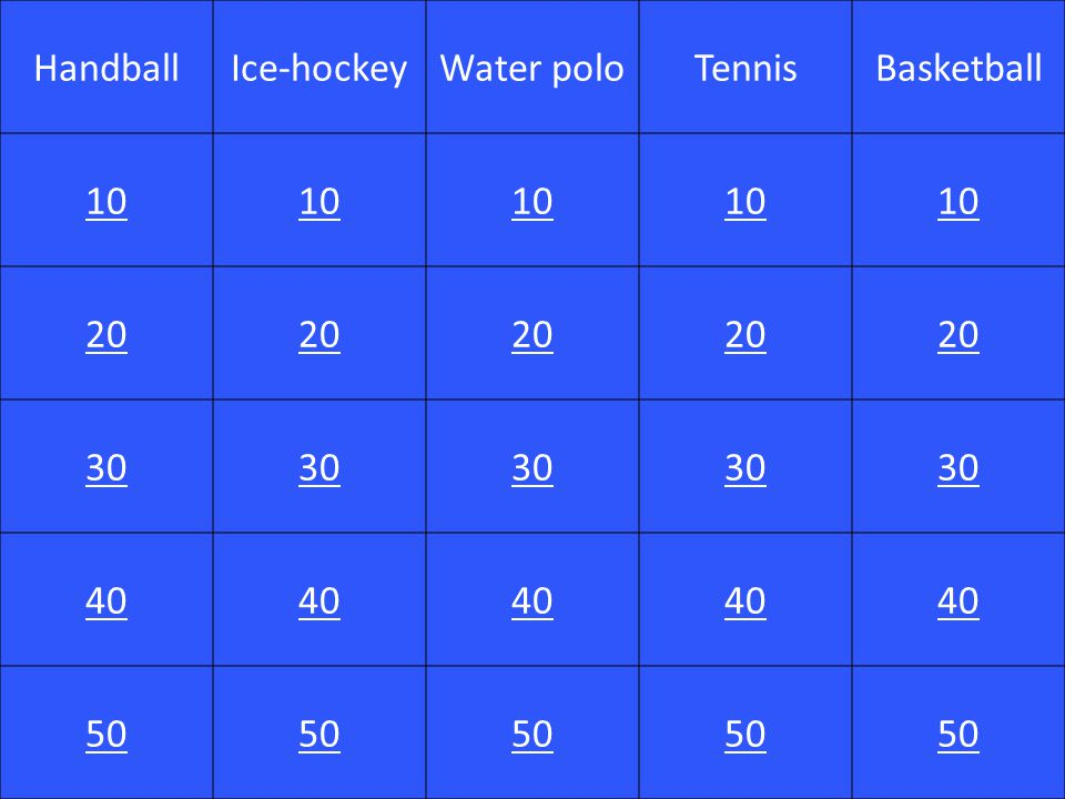 Question 4 - 10 What colour is associated with tennis?
