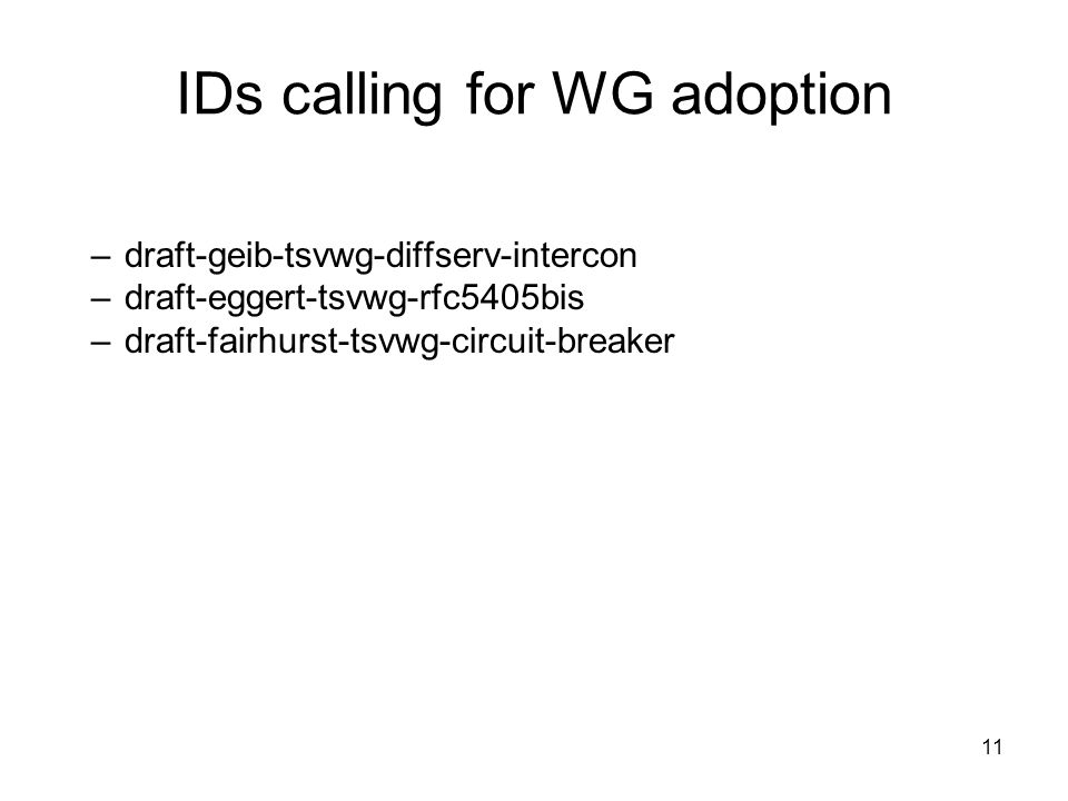 –draft-geib-tsvwg-diffserv-intercon –draft-eggert-tsvwg-rfc5405bis –draft-fairhurst-tsvwg-circuit-breaker IDs calling for WG adoption 11