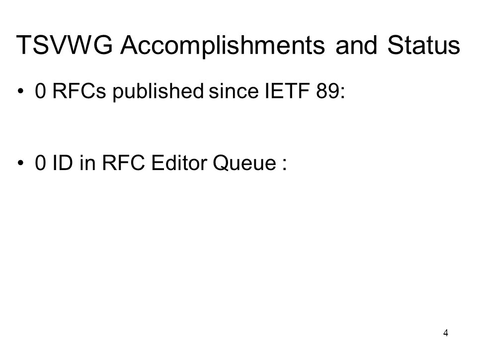 TSVWG Accomplishments and Status 0 RFCs published since IETF 89: 0 ID in RFC Editor Queue : 4