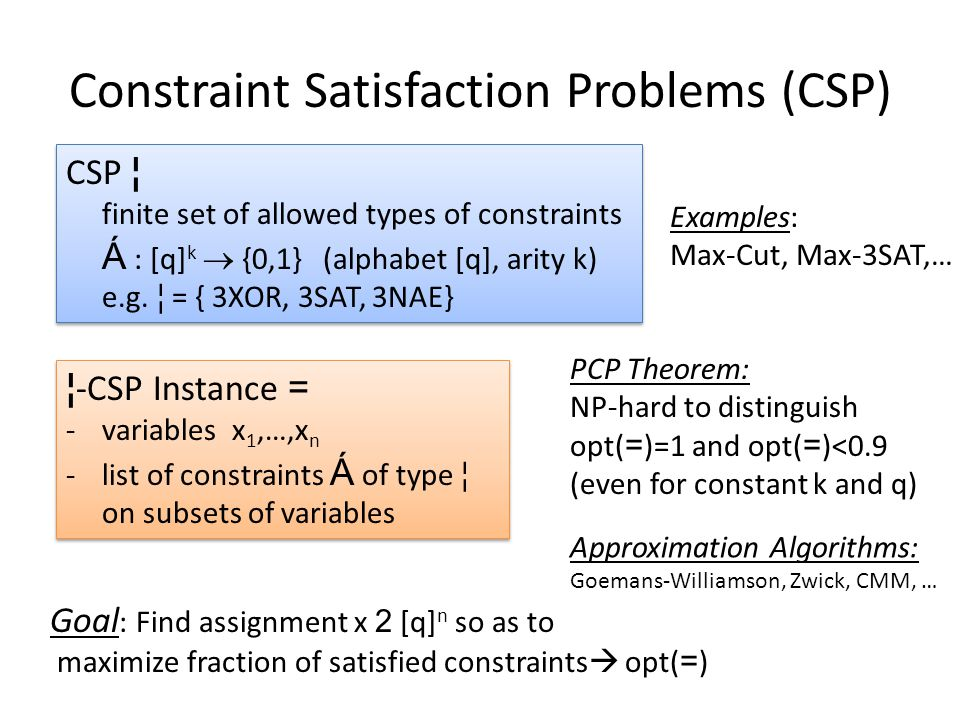 Constraint Satisfaction Problems (CSP) CSP ¦ finite set of allowed types of constraints Á : [q] k  {0,1} (alphabet [q], arity k) e.g.