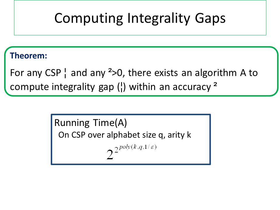 Computing Integrality Gaps Theorem: For any CSP ¦ and any ² >0, there exists an algorithm A to compute integrality gap ( ¦ ) within an accuracy ² Running Time(A) On CSP over alphabet size q, arity k