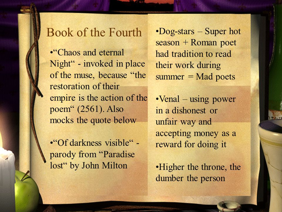 Book of the Fourth Chaos and eternal Night - invoked in place of the muse, because the restoration of their empire is the action of the poem (2561).