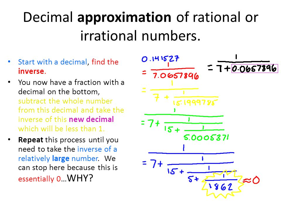 Decimal approximation of rational or irrational numbers.