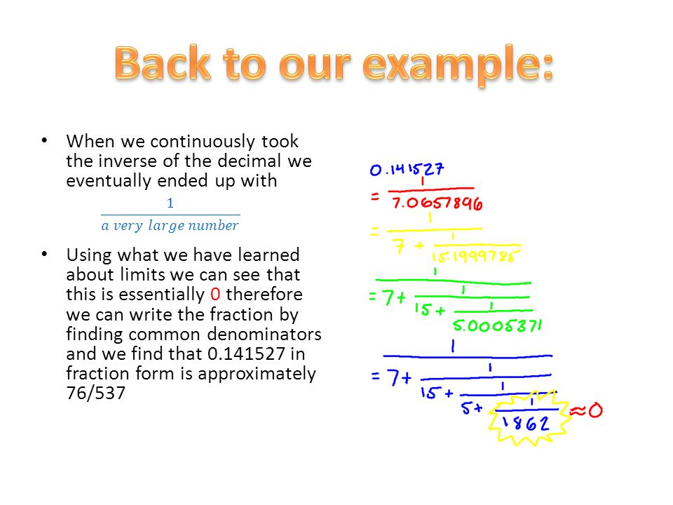 When we continuously took the inverse of the decimal we eventually ended up with Using what we have learned about limits we can see that this is essen