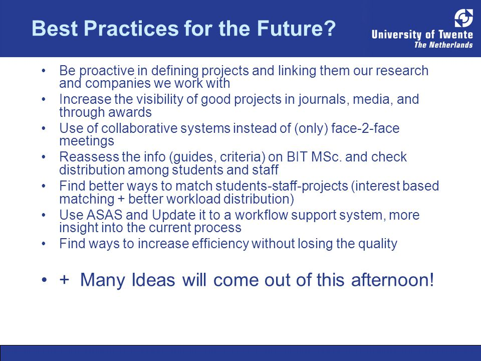 Best Practices for the Future.