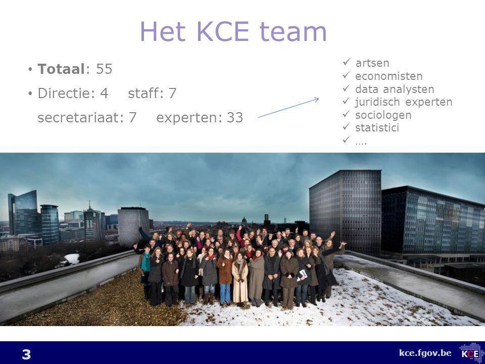 kce.fgov.be Het KCE team 3 Totaal: 55 Directie: 4 staff: 7 secretariaat: 7 experten: 33 artsen economisten data analysten juridisch experten sociologen statistici ….