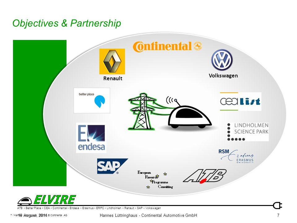 ATB Better Place CEA Continental Endesa Erasmus ERPC Lindholmen Renault SAP Volkswagen 19 August, 2014Hannes Lüttringhaus - Continental Automotive Gmb
