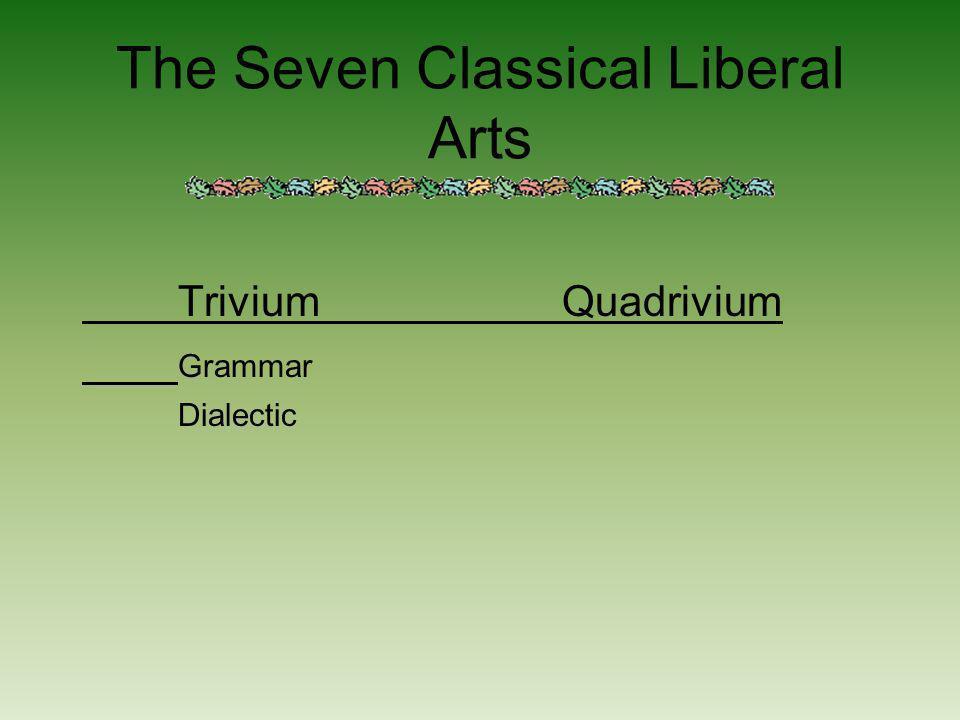 The Seven Classical Liberal Arts TriviumQuadrivium Grammar Dialectic