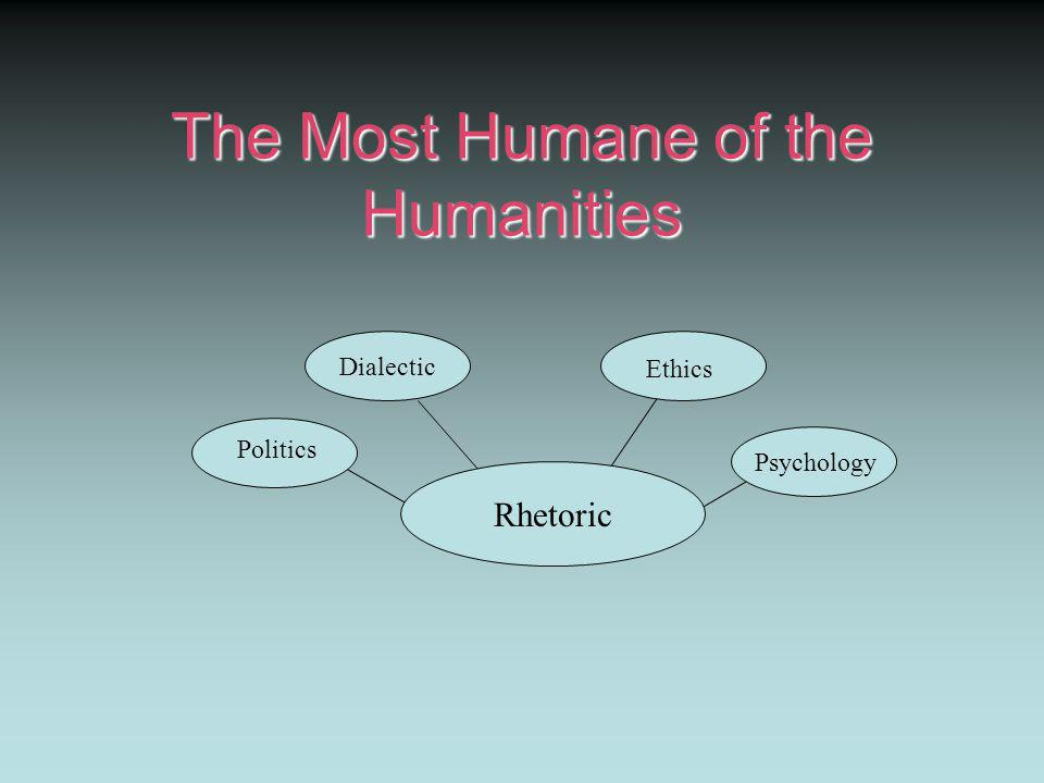 The Most Humane of the Humanities Rhetoric Dialectic Ethics Psychology Politics