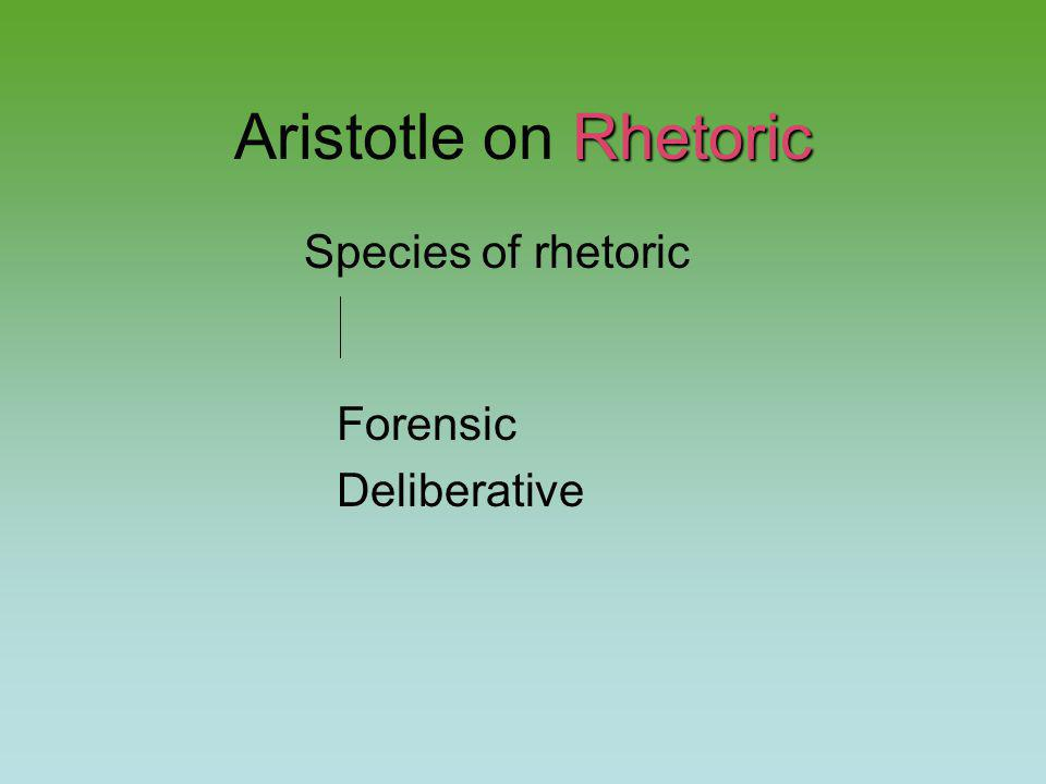 Rhetoric Aristotle on Rhetoric Species of rhetoric Forensic Deliberative