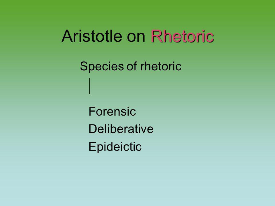 Rhetoric Aristotle on Rhetoric Species of rhetoric Forensic Deliberative Epideictic