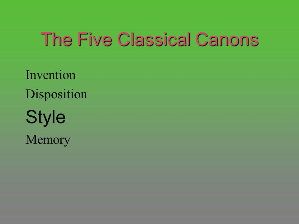 The Five Classical Canons Invention Disposition Style Memory