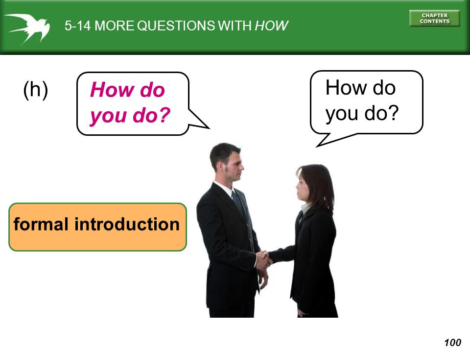 100 5-14 MORE QUESTIONS WITH HOW (h) formal introduction How do you do? How do you do?