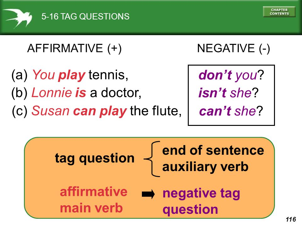 116 5-16 TAG QUESTIONS AFFIRMATIVE (+)NEGATIVE (-) (a) You play tennis, don't you? (b) Lonnie is a doctor, isn't she? (c) Susan can play the flute, ca