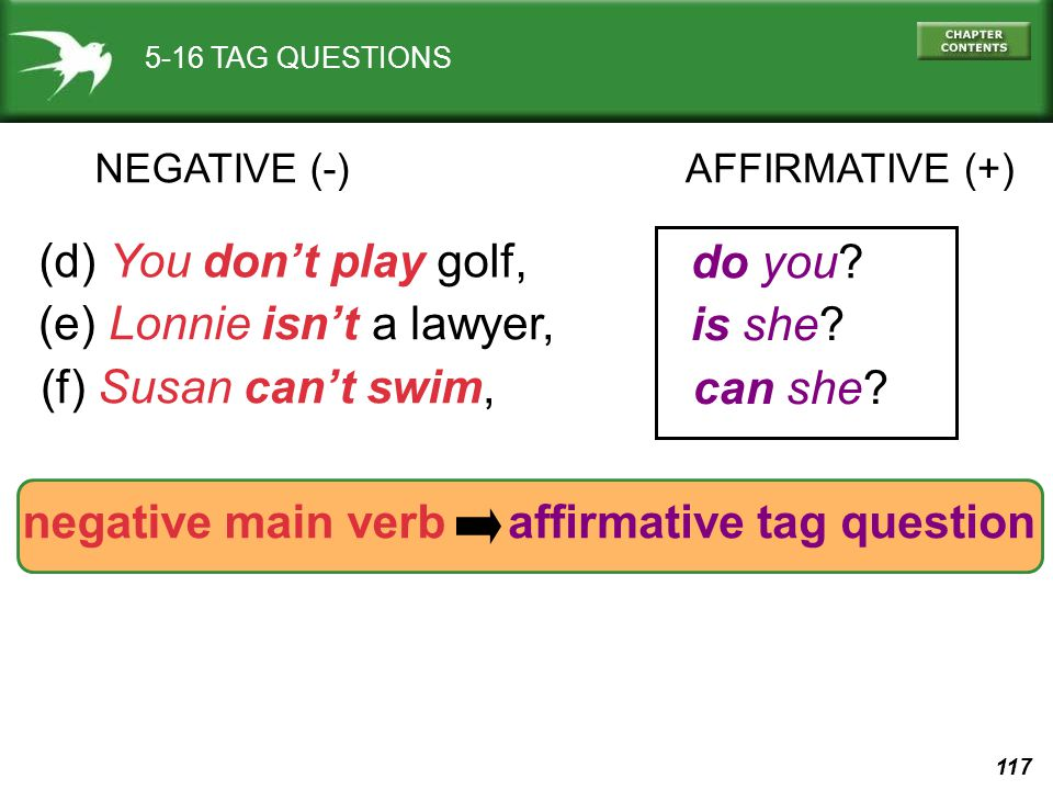 117 5-16 TAG QUESTIONS AFFIRMATIVE (+)NEGATIVE (-) (d) You don't play golf, do you? (e) Lonnie isn't a lawyer, is she? (f) Susan can't swim, can she?