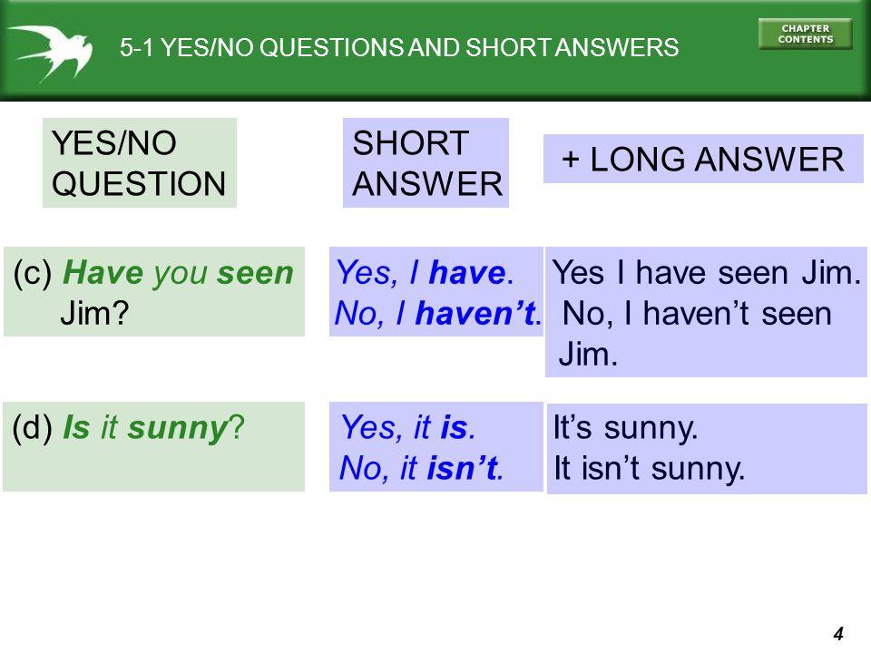 4 Yes, it is. It's sunny. No, it isn't. It isn't sunny. Yes, I have. Yes I have seen Jim. No, I haven't. No, I haven't seen Jim. 5-1 YES/NO QUESTIONS