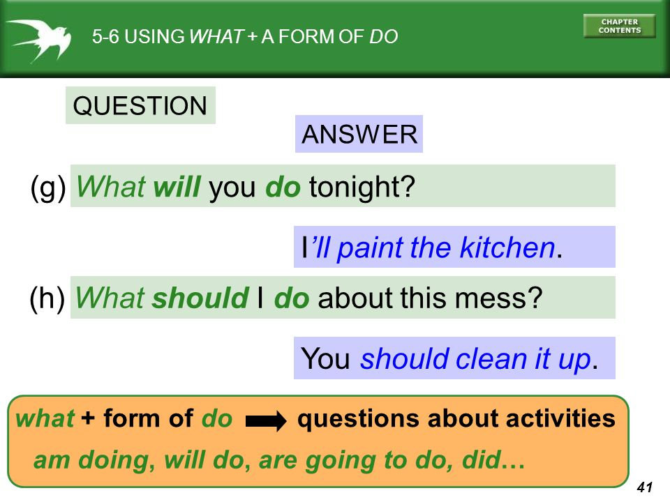 41 I'll paint the kitchen. You should clean it up. (g) What will you do tonight? 5-6 USING WHAT + A FORM OF DO QUESTION ANSWER (h) What should I do ab