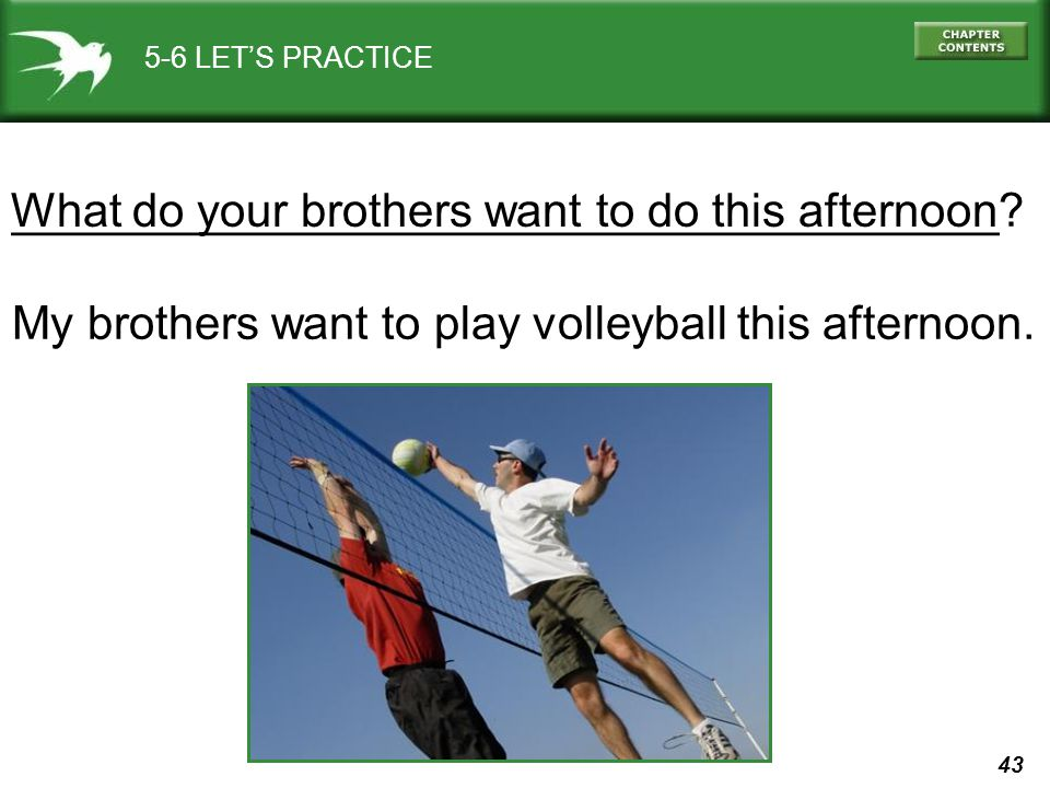 43 5-6 LET'S PRACTICE ______________________________________? My brothers want to play volleyball this afternoon. What do your brothers want to do thi