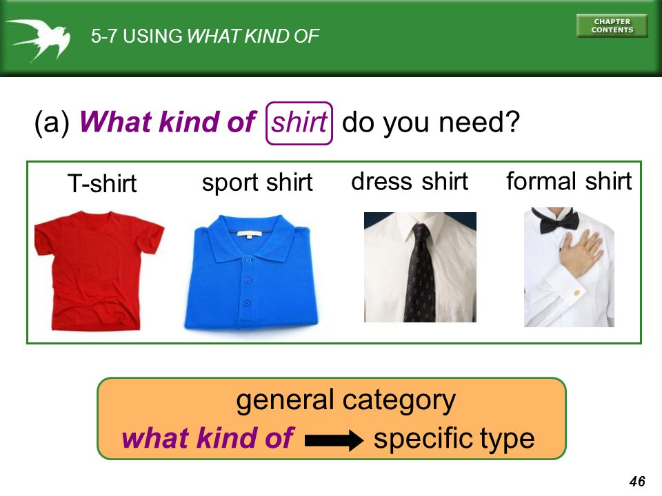 46 5-7 USING WHAT KIND OF (a) What kind of shirt do you need? T-shirt dress shirt sport shirt formal shirt what kind of specific type general category