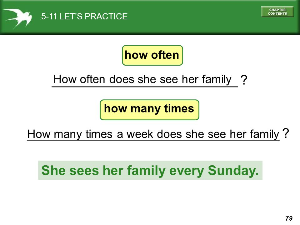 79 How many times a week does she see her family __________________________________ ? _________________________ ? 5-11 LET'S PRACTICE How often does s