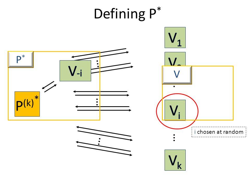 P (k) * Defining P * … … … … … i chosen at random P*P* V