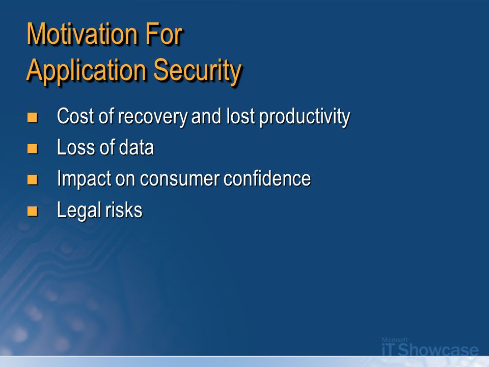 Motivation For Application Security Cost of recovery and lost productivity Cost of recovery and lost productivity Loss of data Loss of data Impact on