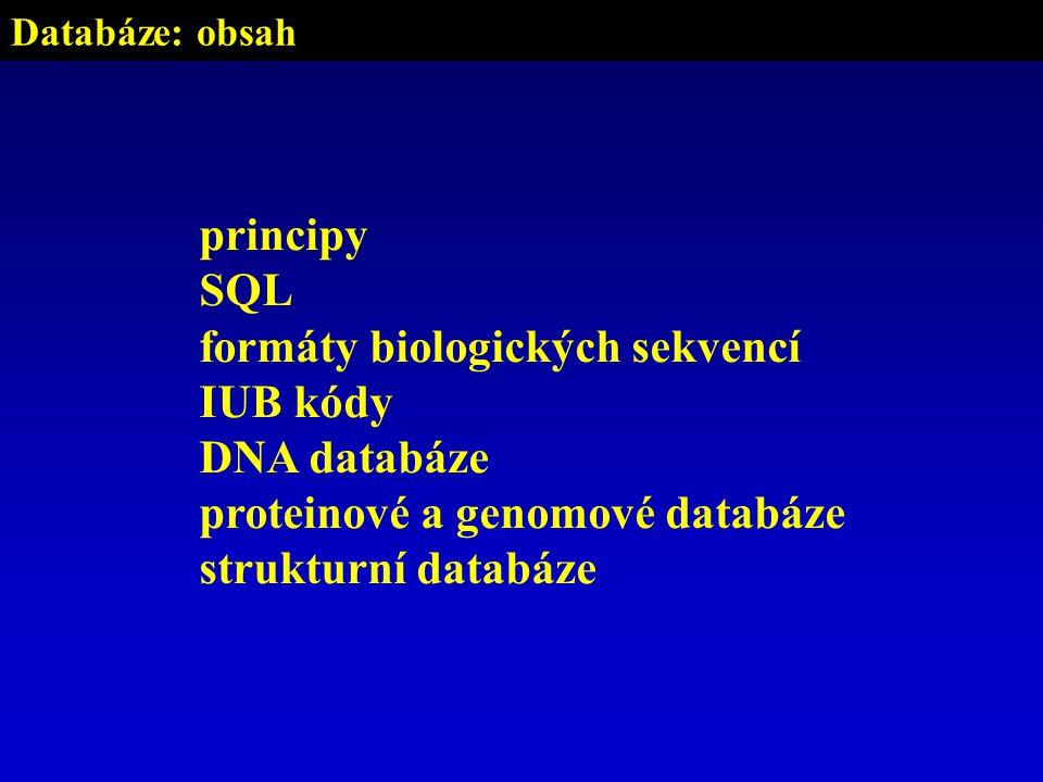 Databáze: obsah principy SQL formáty biologických sekvencí IUB kódy DNA databáze proteinové a genomové databáze strukturní databáze