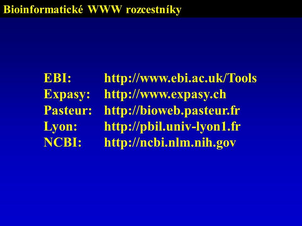 Bioinformatické WWW rozcestníky EBI:http://www.ebi.ac.uk/Tools Expasy:http://www.expasy.ch Pasteur:http://bioweb.pasteur.fr Lyon:http://pbil.univ-lyon1.fr NCBI:http://ncbi.nlm.nih.gov