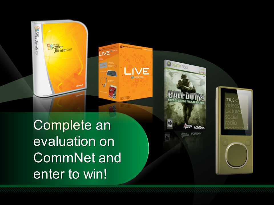 Complete an evaluation on CommNet and enter to win! Required Slide