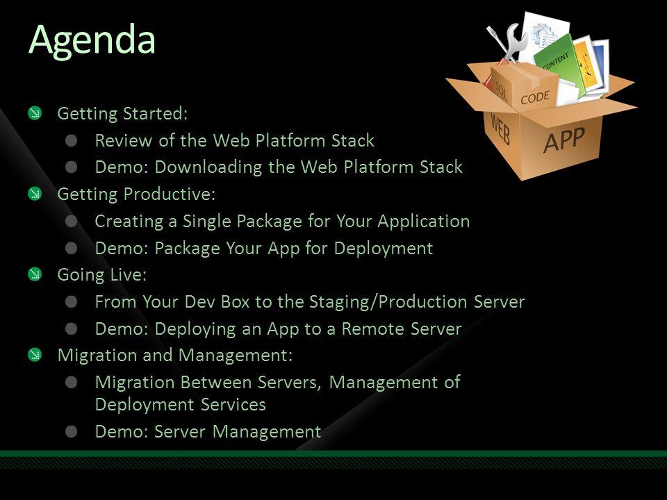 Getting Started Web Platform Stack: IIS 7.0 SQL Server 2008 ASP.NET 3.5 IIS Extensions And more… Single way to get all the extensions and latest platform updates Web Platform Installer