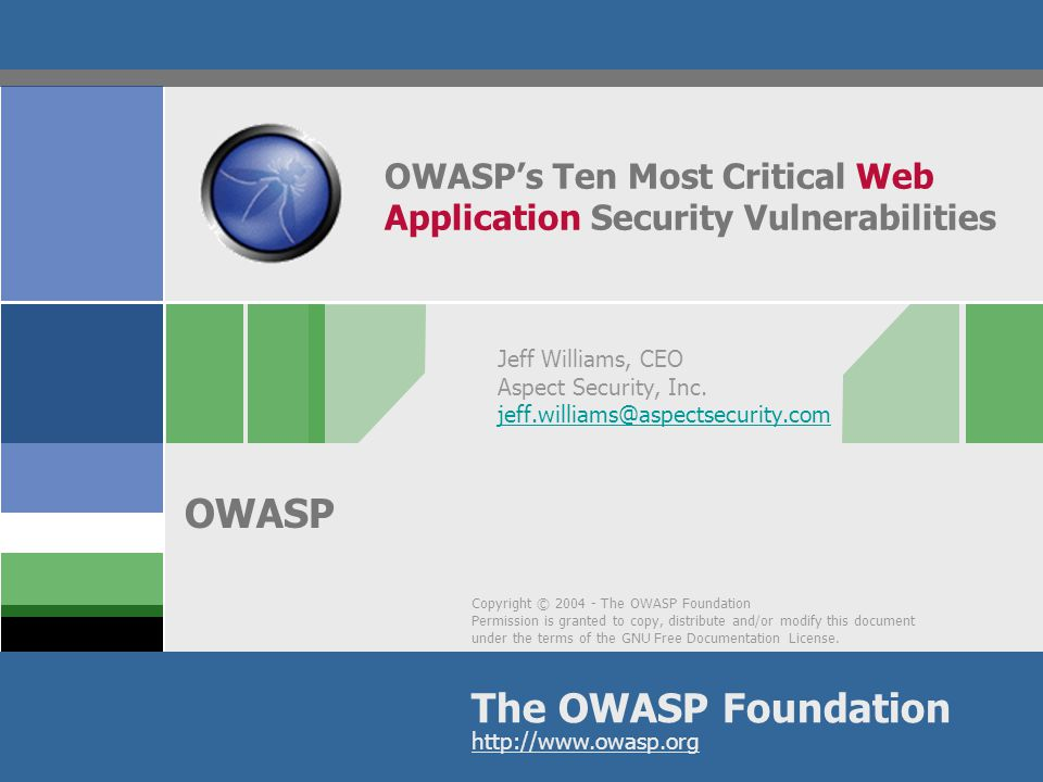 Copyright © 2004 - The OWASP Foundation Permission is granted to copy, distribute and/or modify this document under the terms of the GNU Free Document