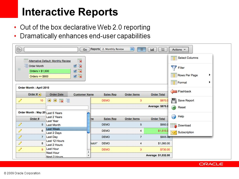 © 2009 Oracle Corporation Interactive Reports Out of the box declarative Web 2.0 reporting Dramatically enhances end-user capabilities