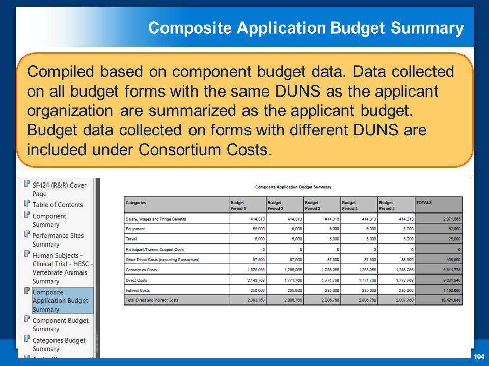 Composite Application Budget Summary 104 Compiled based on component budget data.