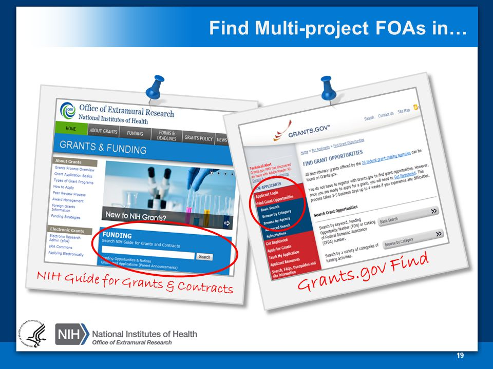 Find Multi-project FOAs in… 19 NIH Guide for Grants & Contracts Grants.gov Find